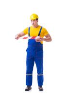 Funny worker wearing coveralls with tape