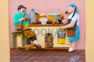 typical mural decoration of the ancient colonial houses of Guatape