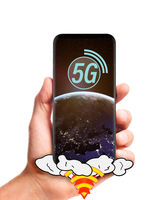 hand holding 5g smartphone