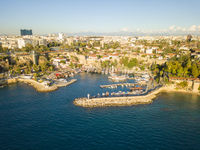 Aerial View Kaleici Old Town Harbor Antalya Turkey