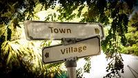Street Sign Town versus Village