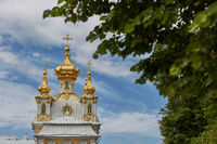 View of famous landmark of Peterhof Palace close to city of St. Petersburg in Russia during sunny summer day