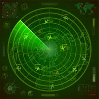 Abstract military radar display with with planes traces and target signs