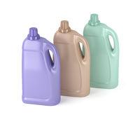 Liquid detergent bottles on white