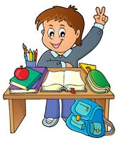 Boy behind school desk theme image 1