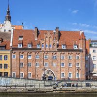 Chlebnicka Gate On The Waterfront Of The River Motlawa , Gdansk, Poland