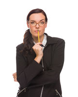 Serious Mixed Race Businesswoman Holding A Pencil Isolated on a White Background