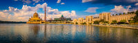 Putrajaya skyline. Amazing view of Putra mosque. Panorama