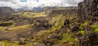 Rocky volcanic nature landscape of Landmannalaugar in Iceland on Laugavegur trek