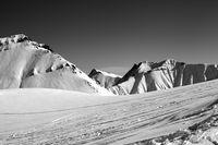 Ski slope at nice winter day