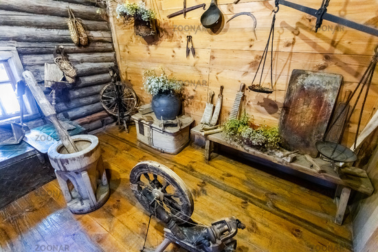 Vintage wooden house utensils in rural home