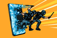 cyberpolice concept. the state monitors the Internet. arrest the hacker. censorship and prohibition of freedom of speech