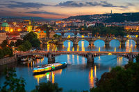 Illuminated bridges in Prague