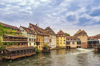 Strasbourg France, Colorful Half Timber House city skyline