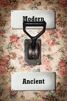 Street Sign to Modern versus Ancient