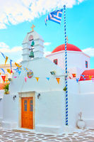 Small white orthodox church in Greece