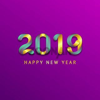 Inscription Happy new year 2019 on purple background