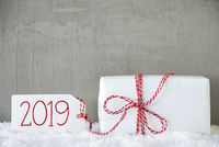 One White Gift, Urban Cement Background, Text 2019