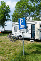 Mobile home parkingplace  with traffic sign