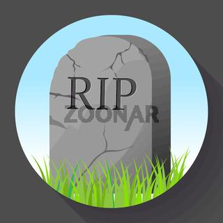 Headstone icon in cartoon style. Funeral ceremony symbol stock vector illustration.