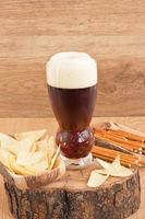 Glass dark beer