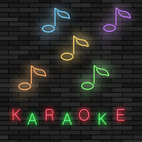 Glowing Light Karaoke. Musical Logo with Notes. Colorful Line Icon. Sign Board of Music Bar