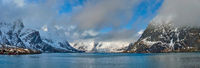 Norwegian fjord and mountains in winter. Lofoten islands, Norway