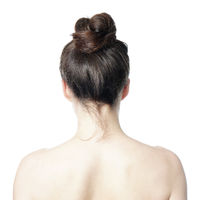 rear view of woman with messy bun hair style