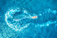 Speed motorboat on the sea. Aerial view