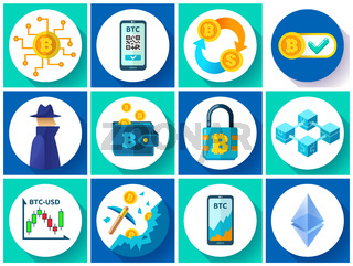 Bitcoin icons set, cryptocurrency mining, blockchain technology