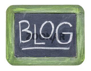blog word on isolated slate blackboard