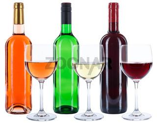 Weinflaschen Weinglas Wein Flaschen Glas Rotwein Weißwein Rose Alkohol freigestellt Freisteller