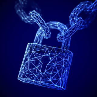 The concept of digital data protection: a polygonal closed lock on the chain.