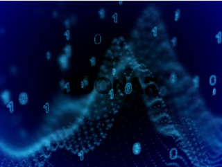 Big data concept: binary code in cyber space.