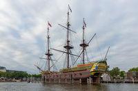 Replica 17th century sailing ship near Maritime Museum Amsterdam