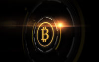 gold bitcoin projection over black background