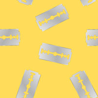 Traditional Double Edge Razor Blade Seamless Pattern. Tool for Haircut and Shave. Stainless Steel Sheving Equipment.