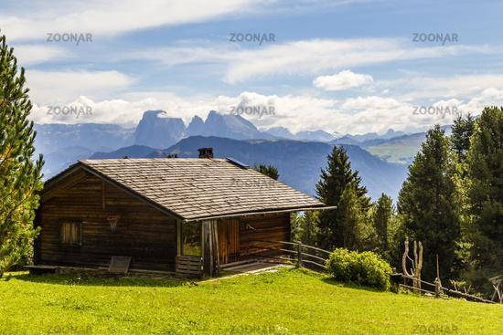 Berghütte und Almwiese in den Alpen, cottage and meadow in the alps