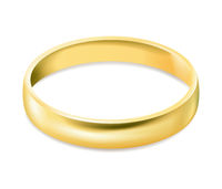 Gold engagement ring isolated on white background