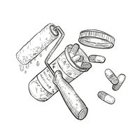 Paint Roller Medicine Pill Bottle Drawing Black and White