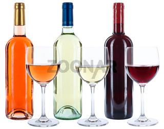 Weinflaschen Weinglas Wein Flaschen Glas Weine Rotwein Weißwein Rose Alkohol freigestellt Freisteller