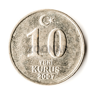 Old Turkish Coin on White Background, 10 Kurus, 2007