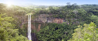 Mauritius. Panormany view of the rainforest and Chamarel waterfall.