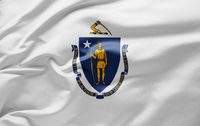 Waving state flag of Massachusetts - United States of America