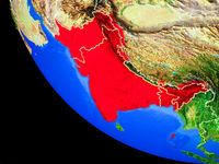 British India on Earth from space