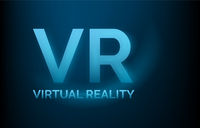 VR virtual reality banner, technology concept, low poly, vector illustration