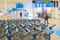 Baggage trolleys at airport terminal