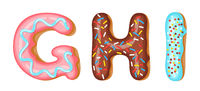 Donut icing upper latters - G, H, I. Font of donuts. Bakery sweet alphabet. Donut alphabet latters A b C isolated on white background