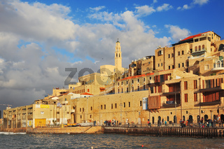 Sunny day in ancient port of Old Jaffa