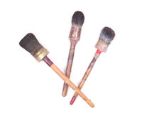 Old and used paint brushes